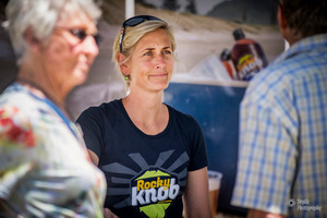 Rocky Knob co-owner Bron Marshall sells brews developed by her husband, Stu Marshall, at the Little Big Markets in Mount Maunganui. Photo/supplied