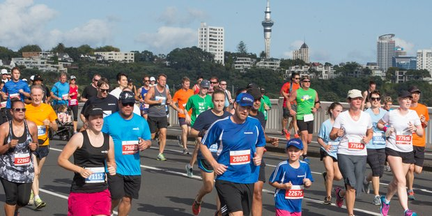 Loading Runners make their way along Tamaki Drive as part of the 2016 Auckland Round the Bays. Photo / Greg Bowker