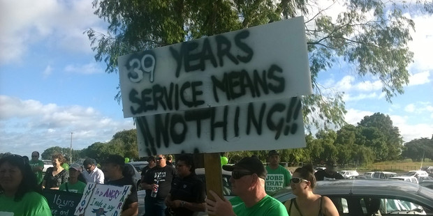 Laid-off workers protest outside Rangiruru Meat Works. Photo/Ruth Keber