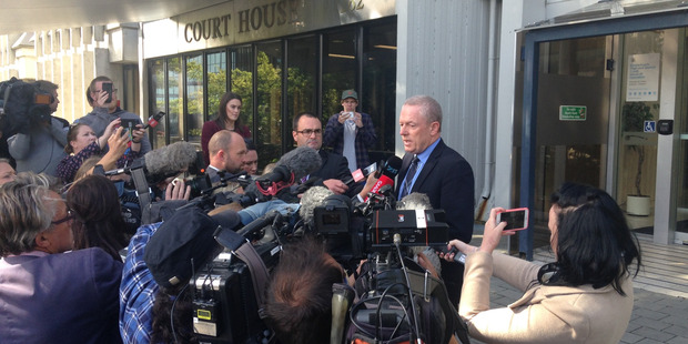 Brendan Boyle , Head of the Social Development Ministry , speaks outside Christchurch High Court at the conclusion of the trial of Russell John Tully. Photo / Joe Morgan