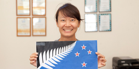 """Annie Jeong from Korea - change the flag: """"Because the old one is so like the British one. The NZ flag should have NZ traditions on it."""""""