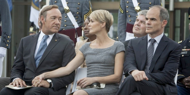 Kevin Spacey, Robin Wright and Michael Kelly in a scene from Netflix's House of Cards. Photo / Patrick Harbron, Netflix