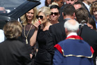 Lorraine Downes farewells husband Martin Crowe at Holy Trinity Catherdral, in Parnell in Auckland. Photo / Greg Bowker