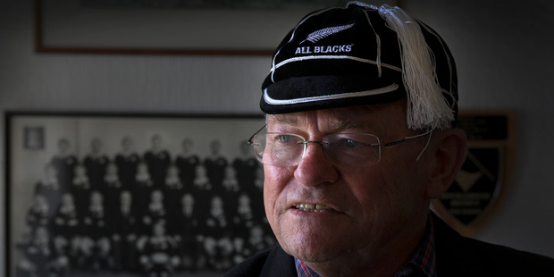 Neil Wolfe, dementia sufferer and All Black, wearing his All Blacks cap and jacket, at his home in New Plymouth. Photo / Brett Phibbs