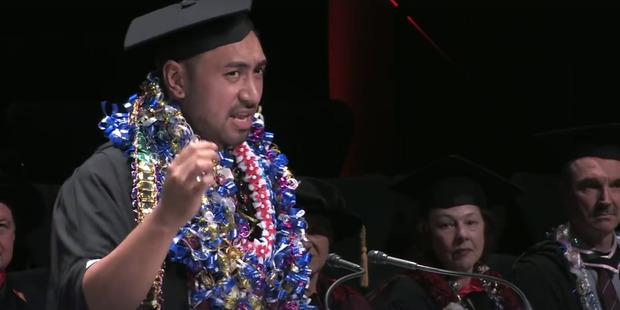 Joshua Iosefo's AUT graduation speech. Photo / Facebook