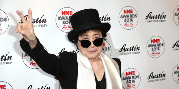 Yoko Ono is unable to make it to France to see her retrospective art work on display. Photo / AP
