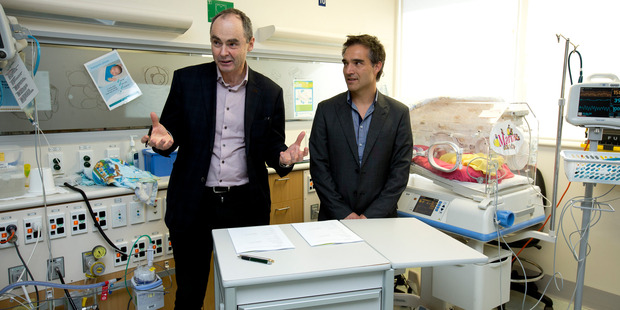 Orion Health chief executive, Ian McCrae (L) with Dale Bramley, CEO of the Waitamata District Health Board. Photo / NZME