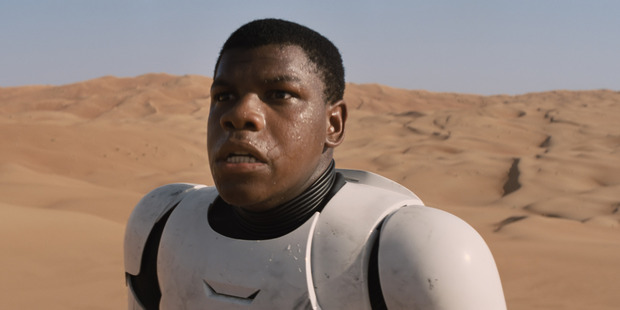 John Boyega in a scene from the movie Star Wars: The Force Awakens.