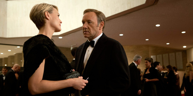 Kevin Spacey as Frank Underwood and Robin Wright as Claire Underwood in the television series House of Cards.