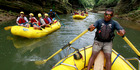 Guides take tourists white-water rafting through the highlands of Viti Levu. Photo / Steven McNicholl