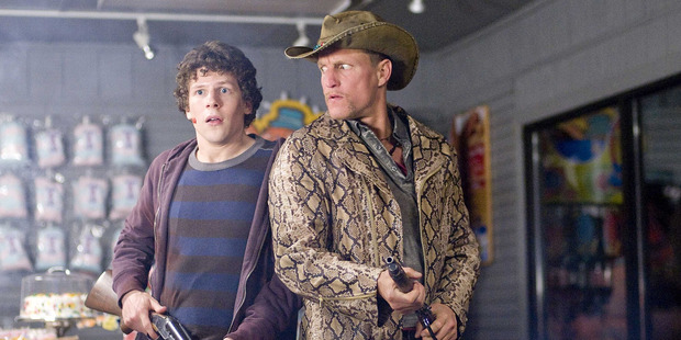 Jesse Eisenberg and Woody Harrelson in a scene from the movie Zombieland.