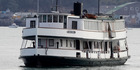 The historic Auckland ferry the Kestrel sunk overnight. Photo / NZPA / Wayne Drought