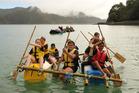Kids from Oruaiti School compete in last year's Great Whangaroa Kiwi Can Raft Race. PHOTO / Peter de Graaf