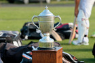 The Hawke Cup during Hawke's Bay's training at Nelson Park, Napier, last night. Photo / Warren Buckland