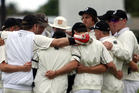 Hawke's Bay players in a group huddle after they were skittled for 162 runs against Bay of Plenty at Nelson Park, Napier, today. PHOTO/Paul Taylor