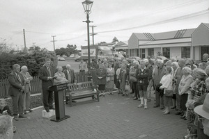 The opening of Settlers Reserve in Masterton in 1996, with Masterton mayor Bob Francis addressing a gathering of the Dixon family plus members of the Founders Society. PHOTO/FILE