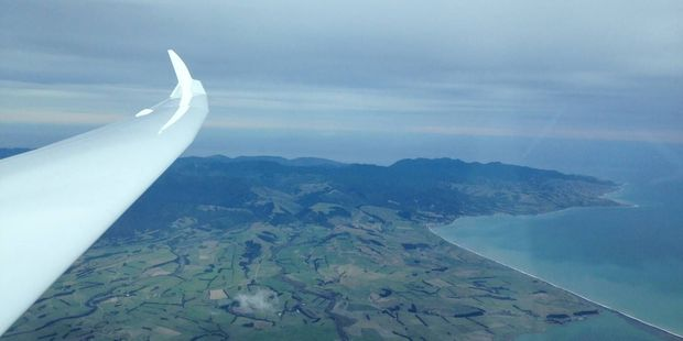 Greytown Soaring Centre president Grae Harrison looking out over Palliser Bay at 3960m from his Ventus 2 glider. PHOTO/GRAE HARRISON