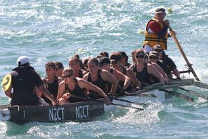 The Cancer Society Wairarapa women's dragonboat team in action in Wellington on Saturday. PHOTO/ANDREW BONALLACK