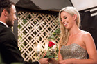 Ceri McVinnie receives a rose from Jordan Mauger in the second season of The Bachelor NZ.