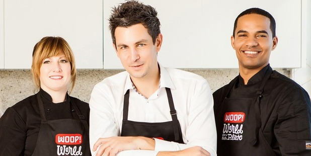 Thomas Dietz, founder and CEO of WOOP (centre), with WOOP chefs Kristen Staines and Kamil Splinter.
