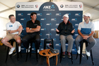 Brendon McCullum, Stephen Fleming, Allan Border and Ricky Ponting at the Hills. Photo / Photosport