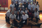 Tuakau College students with the Webb Ellis Cup. Photo / Supplied