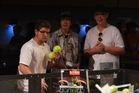 CHB College Year 13 students James Field (left), Daniel Johnston, Jarrod McLaren during a challenge where they have to shoot foam balls into a target and then drive around a field to collect more before the other robots can collect and shoot them.