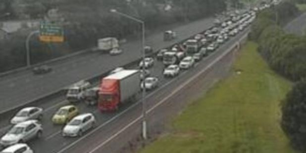 Motorway is backed up as a result of one lane being closed. Photo / NZTA