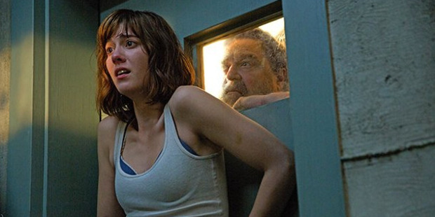 A scene from the movie 10 Cloverfield Lane, starring Mary Elizabeth Winstead and John Goodman.