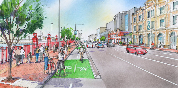 Artist's impression of Quay Street Cycleway looking east from the intersection with Gore Street. Photo / Supplied via Auckland Transport
