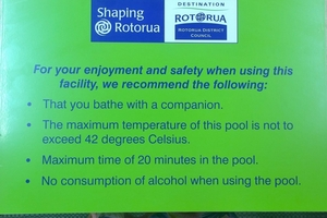 Coroner Wallace Bain has recommended the Rotorua Lakes Council make it compulsory for signage recommending people do not swim alone in geothermal pools. Photo / Supplied