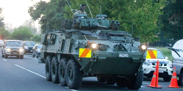 Loading The army was involved in the operation in Onepu Spring Rd. Photo / Stephen Parker