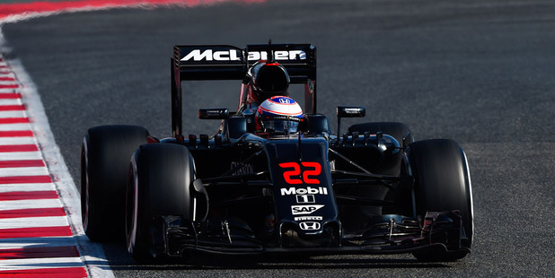Jenson Button of McLaren Honda drives during day four of F1 winter testing at Circuit de Catalunya. photo / Getty