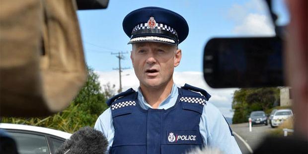 Otago Coastal area commander Inspector Jason Guthrie addresses the media over the woman's death. Photo / Otago Daily Times