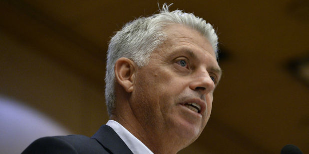 ICC chief Dave Richardson speaks at a media conference overnight. Photo / Getty