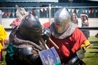Out and about at the Tattoo Cup, medieval armoured  Two combatants battle it out. Photo/Andrew Warner.