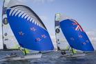 New Zealand 49er sailors Peter Burling and Blair Tuke test a new sail in the Hauraki Gulf. Photo / Greg Bowker