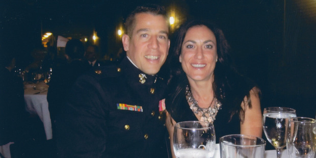 Thompson with his girlfriend, Cristina Waters, at a Marine Corps Ball.
