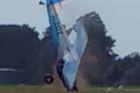 A video has captured the terrifying moment a plane landed with one of its wheels missing at Hamilton Airport.