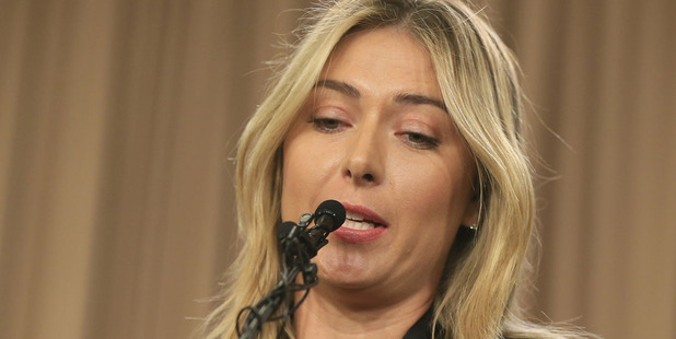 Maria Sharapova speaks during a news conference in Los Angeles where she admitted to failing a drugs test. Photo / AP