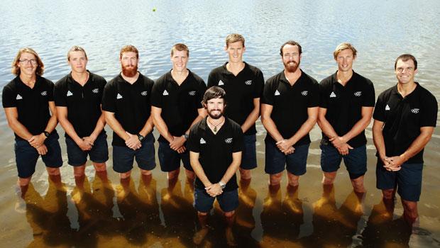 The New Zealand Rowing Mens Eight, Tom Murray, Shaun Kirkham, Michael Brake, Isaac Grainger, Brook Robertson, Joe Wright, Alex Kennedy, Stephen Jones and Caleb Shepherd. Photo / Getty
