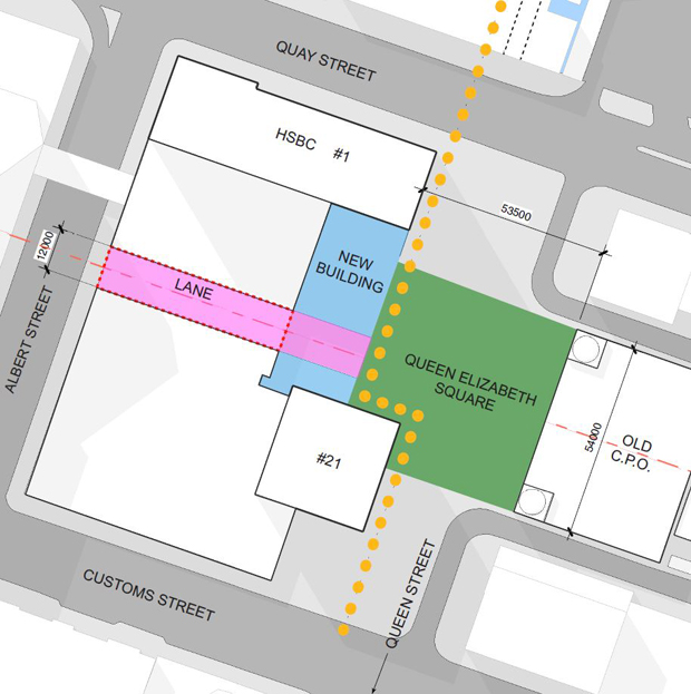 A suggestion by the Architects Association to sell the shaded part of the square and keep the sunny part. Photo / Supplied