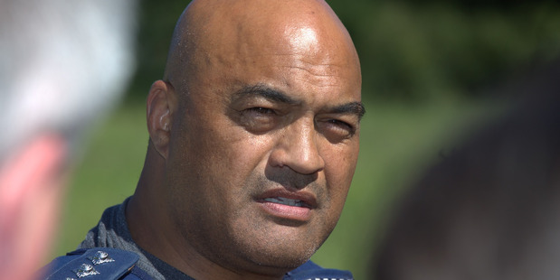 Taupo police area commander Warwick Morehu at a media conference at Onepu Springs Rd after the gunman was taken into custody earlier today. Photo/NZME