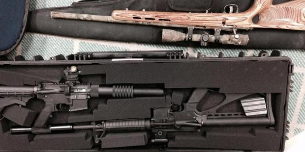 The weapons included military-assault firearms. Photo / Supplied via Police