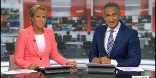 Hilary Barry and Mike McRoberts front TV3's Newshub in 2016.