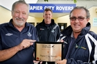 Rovers club president Barrie Hughes (left) receives NZ Football's Quality Club Mark from Central Football CEO John McGifford as Rovers chairman Russell Booth (centre) watches. PHOTO/Warren Buckland