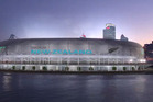 The proposed Auckland waterfront stadium. Photo / Warren and Mahoney