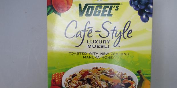 Vogel's Cafe Style Luxury Muesli $7.79 for 475g or 10 serves. Photo / Wendyl Nissen