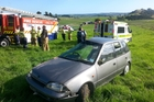 This car ended up in a paddock.