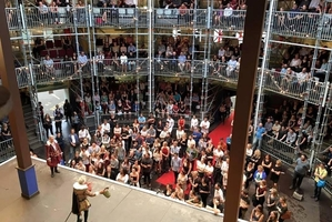 Rotorua Girls' High School students enjoy Romeo and Juliet at the Pop Up Globe in Auckland.